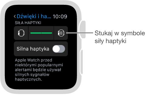 Ekran ustawień dźwięku ihaptyki, na którym można przewinąć wdół do opcji haptyki dzwonków ialertów, anastępnie zmienić intensywność sygnałów haptyczny za pomocą symboli haptyki.
