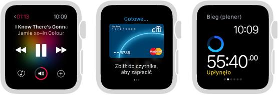 Trzy ekrany AppleWatch zawierające opcje dostępne bez połączonego wparę iPhone'a: odtwarzania muzyki, sprawdzania postępu aktywności oraz monitorowania biegu (zegarek pokazuje czas trwania treningu).