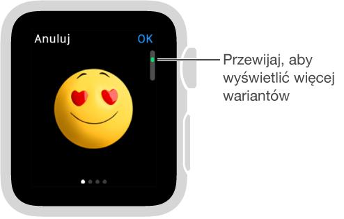 Ekran wiadomości zikoną emoji wcentrum. Przesuwając palcem, możesz wyświetlać jej różne warianty.