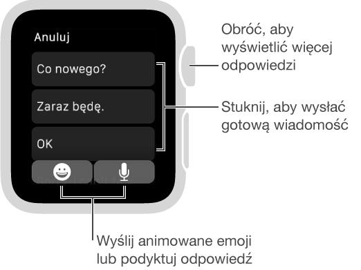 """Ekran Wiadomości; przycisk Anuluj na górze oraz trzy odpowiedzi (""""What's up?"""", """"I'm on my way."""" i""""OK.""""). Na dole dwa przyciski: emoji imikrofonu."""