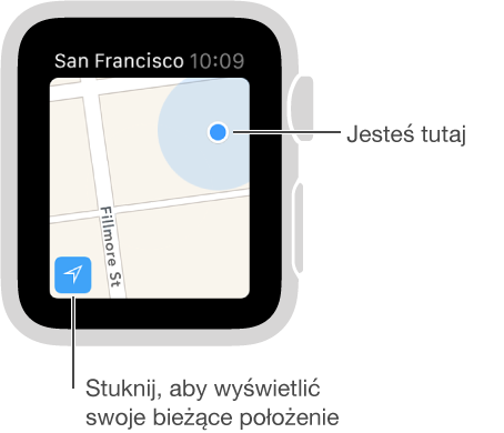 Aby wyświetlić na mapie swoje położenie (oznaczane niebieską kropką), stuknij wprzycisk śledzenia znajdujący się wlewym dolnym rogu.