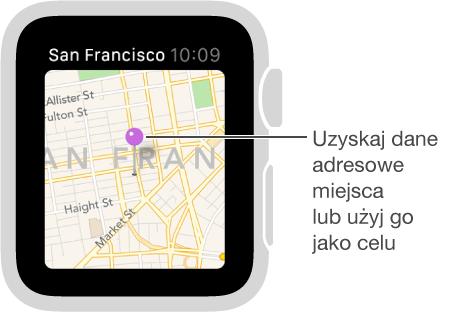 Pinezka na mapie pozwala uzyskać przybliżony adres wskazanego miejsca albo ustalić punkt docelowy trasy.