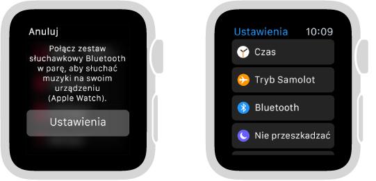 Jeśli przełączysz źródło muzyki na AppleWatch przed połączeniem słuchawek lub głośników Bluetooth wparę, na środku ekranu pojawi się przycisk Ustawień. Stuknięcie wniego otwiera ekran ustawień Bluetooth na AppleWatch, na którym możesz dodać swoje urządzenie.