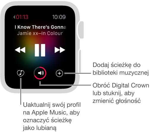 Jeśli subskrybujesz Apple Music, pod narzędziami odtwarzania wyświetlane są trzy przyciski. Po lewej znajduje się przycisk oznaczania bieżącej ścieżki jako lubianej. Na środku znajduje się narzędzie zmiany głośności, azprawej strony— przycisk dodawania ścieżki do biblioteki.