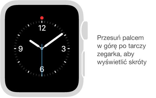 Przesuń palcem wgórę po dowolnej tarczy zegarka, aby wyświetlić skróty.