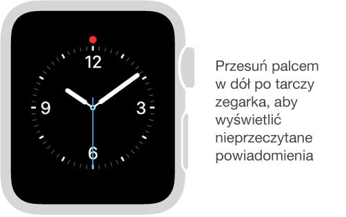 Aby wyświetlić powiadomienia, przesuń palcem wdół po dowolnej tarczy zegarka.