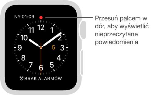 Jeśli masz powiadomienie wymagające Twojej uwagi, na godzinie dwunastej tarczy zegarka wyświetlana jest czerwona kropka. Aby je wyświetlić, przesuń palcem wdół.