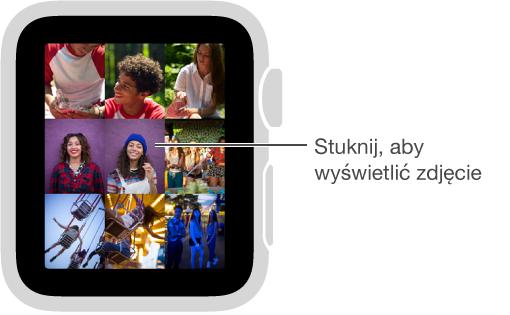 Aby wyświetlić dowolne zdjęcie ze zbioru na AppleWatch, stuknij wnie. Aby wrócić do wyświetlania całego zbioru, obróć Digital Crown.