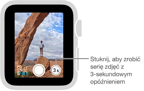 Gdy używasz AppleWatch jako zdalnego wizjera aparatu, przycisk samowyzwalacza znajduje się wprawym dolnym rogu ekranu.