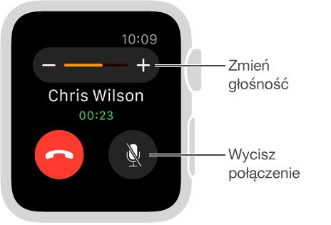 Ekran połączenia przychodzącego; opcje zmiany głośności iwyciszania.