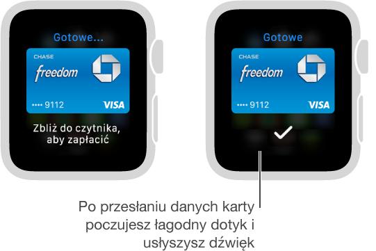 Po przesłaniu danych karty poczujesz dotyk izobaczysz na ekranie symbol potwierdzenia.