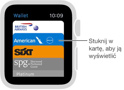 Stuknij wkartę na ekranie programu Wallet, aby ją wyświetlić.