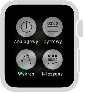 Gdy używasz AppleWatch jako stopera, naciśnij ekran, aby zmienić jego format. Wybierz opcję Analogowy, Cyfrowy, Wykres lub Mieszany.