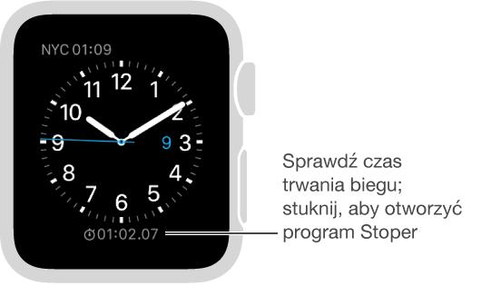Możesz dodać komplikację stopera do tarczy zegarka. Stuknięcie wnią otwiera program Stoper.