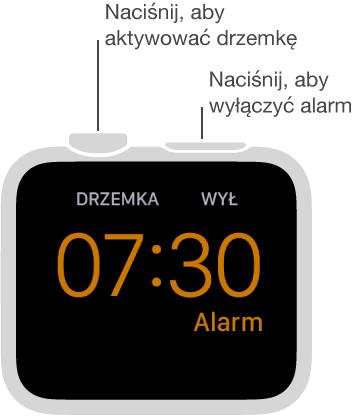 Wtrybie szafki nocnej naciśnięcie Digital Crown włącza drzemkę, anaciśnięcie przycisku bocznego wyłącza alarm.