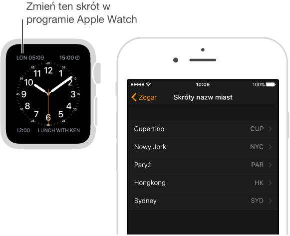 Tarcza zegarka ze wskaźnikiem na zegarze dla Londynu (skrót: LON). Następny ekran zawiera opcję programu AppleWatch na iPhonie pozwalającą modyfikować skróty nazw miast.