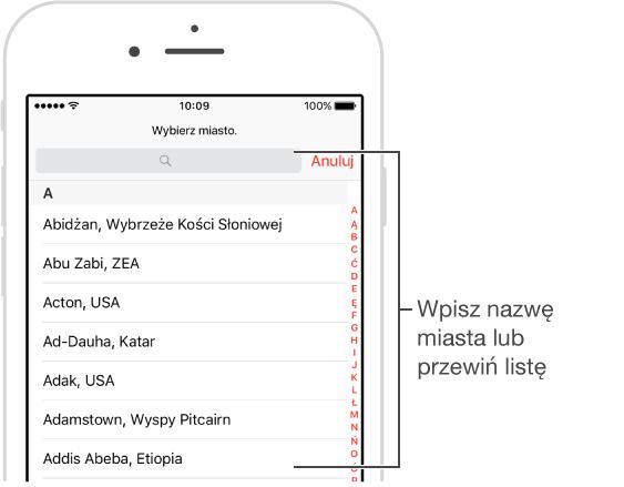 Ekran programu Zegar na iPhonie, na którym możesz dodawać miasta do programu Zegary świata.