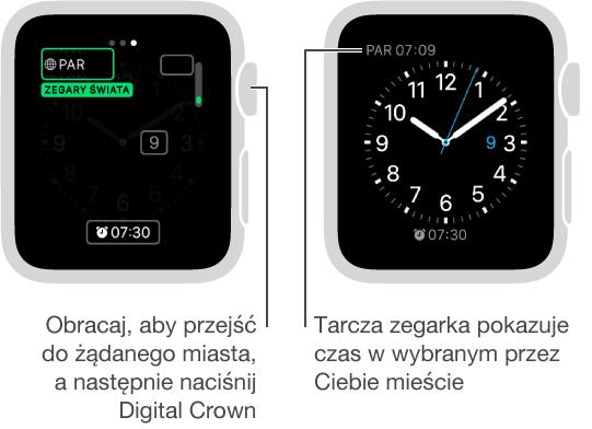 Dwa ekrany zegarka: pierwszy ilustrujący dodawanie zegara dla innego miasta do tarczy zegarka; drugi pokazujący zegar dla innego miasta na tarczy zegarka.