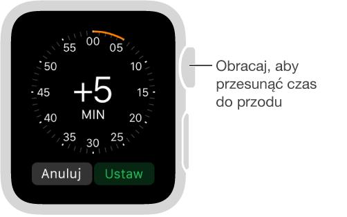 Przejdź do ekranu ustawień czasu iobróć Digital Crown, aby określić, jak bardzo przesunięty do przodu ma być czas pokazywany na tarczy zegarka.