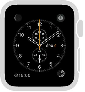 Tarcza Chronograf; możesz zmieniać jej kolor oraz detale cyferblatu. Możesz także dodawać komplikacje: datę, kalendarz, fazę Księżyca, wschód/zachód słońca, pogodę, notowania giełdowe, podsumowanie aktywności, alarm, minutnik, poziom naładowania baterii oraz zegar dla innego miasta. Tarcza zawiera także stoper.