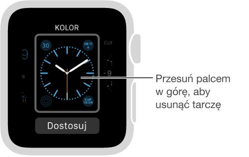 Ekran ztarczą zegarka. Aby usunąć tarczę, przesuń palcem wgórę.