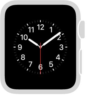Tarcza Użytkowy, która pozwala zmieniać kolor wskazówki sekundowej oraz cyfry idetale cyferblatu. Możesz także dodawać do niej komplikacje: datę, kalendarz, fazę Księżyca, wschód/zachód słońca, pogodę, podsumowanie aktywności, alarm, minutnik, stoper, poziom naładowania baterii oraz zegar dla innego miasta (dolna komplikacja może pokazywać rozszerzone wersje powyższych informacji oraz notowań giełdowych).