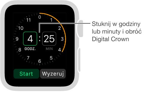 Aby ustawić minutnik, stuknij wgodziny lub minuty iobróć Digital Crown.