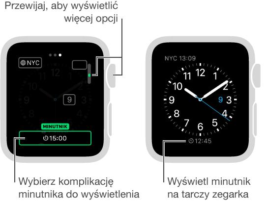Dwa ekrany: pierwszy przedstawia sposób dodawania minutnika do tarczy zegarka, drugi pokazuje końcowy efekt tej procedury.