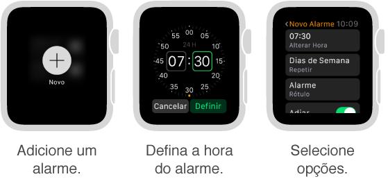 Cinco telas de relógio mostrando o processo de adição de um alarme: Pressionar para adicionar um alarme, girar a DigitalCrown para definir a hora, definir as opções nos ajustes, definir opções de repetição e ativar a opção Adiar.