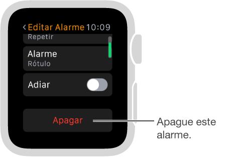 Tela Editar Alarme, onde você pode rolar até a parte inferior para apagar um alarme.