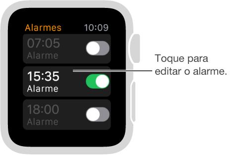 Tela dos alarmes com três alarmes e controles para ativá-los ou desativá-los.
