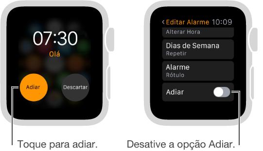 Duas telas de relógio: uma mostra um estilo do relógio com um botão de adiar alarme. A outra mostra os ajustes Editar Alarme, onde é possível ativar ou desativar a opção Adiar.