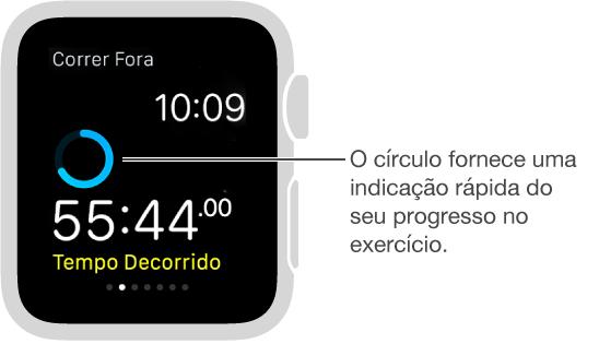 Durante um exercício, é possível deslizar na tela para ver o seu progresso ou medir sua frequência cardíaca.