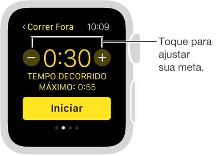Para definir as metas de tempo, distância ou calorias, toque nos botões de mais e menos.