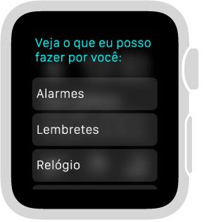 A Siri responderá com uma lista de rolagem de botões de categorias de tópicos que você poderá tocar para ver exemplos.