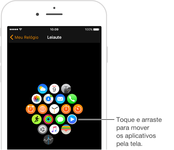 Tela Leiaute no aplicativo Apple Watch no iPhone mostrando o leiaute dos aplicativos. Toque e arraste para mover aplicativos.
