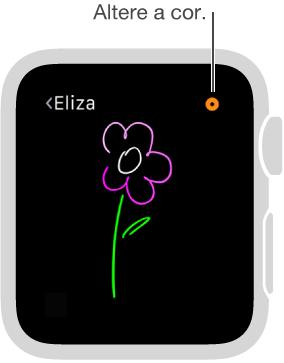 Toque no botão de cor no canto superior direito para alterar a cor dos desenhos.
