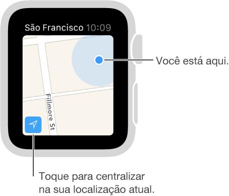 Toque no botão Rastreamento, no canto inferior esquerdo do mapa, para ver a sua localização indicada por um ponto azul.