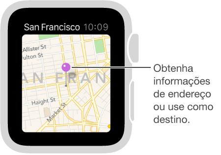 Use um alfinete de mapa para obter o endereço aproximado de um ponto no mapa ou use-o como destino para itinerários.