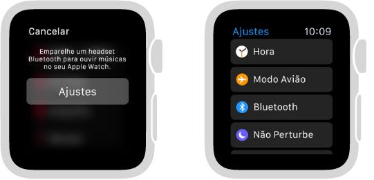 Se você alternar a origem das músicas para o AppleWatch antes de emparelhar fones de ouvido ou alto-falantes Bluetooth, um botão Ajustes aparecerá no centro da tela. Ele leva você aos ajustes de Bluetooth no AppleWatch, onde é possível adicionar um dispositivo de audição.