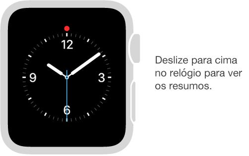 A partir de qualquer estilo do relógio, deslize para cima para ver resumos.