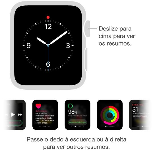 Os Resumos aparecem ao deslizar para cima no relógio. É preciso estar vendo o estilo do relógio, e não uma outra tela.