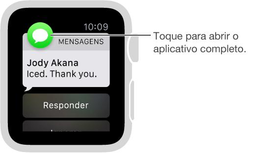 O ícone do aplicativo associado à notificação aparecerá no canto superior esquerdo. Você pode tocar nele para abrir o conteúdo da notificação no aplicativo.