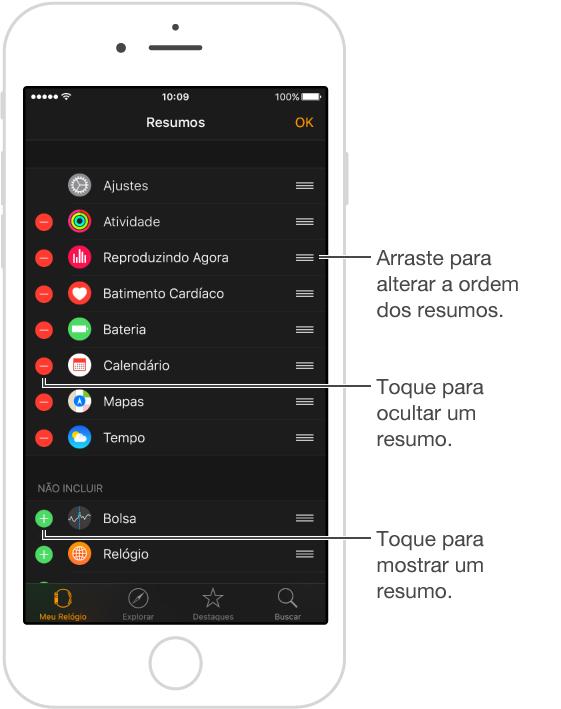 Os botões de reorganizar encontram-se ao longo da margem direita da tela.