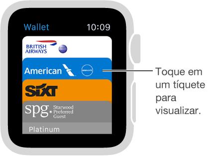 Na tela da Wallet, toque em um tíquete para visualizá-lo.