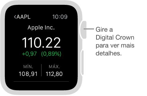 Informações sobre uma ação no aplicativo Bolsa. Gire a DigitalCrown para ver mais detalhes.