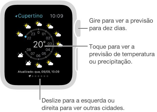 No aplicativo Tempo, toque na temperatura atual para alternar para a previsão de temperatura horária ou precipitação. Role para baixo para ver uma previsão para dez dias. Deslize para a direita ou para a esquerda para ver as condições em outras cidades.