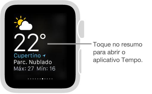 Resumo Tempo aberto, com um balão explicativo para tocar no resumo a fim de abrir o aplicativo Tempo.