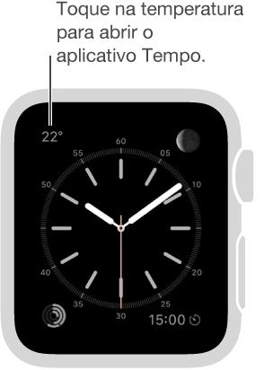 Toque na temperatura em um estilo do relógio para abrir o aplicativo Tempo.