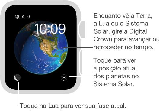 O estilo do relógio Astronomia, que exibe a data e a hora atuais, as quais não podem ser modificadas. Você pode ver a Terra, a Lua ou o Sistema Solar no estilo do relógio e tocar na tela para ver as posições dos planetas, as fases da lua e outros.